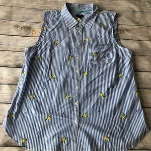 NWT Talbots Striped Embroidered Sleeveless Top XL